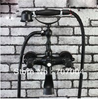 bath tub faucets bronze - Oil Rubbed Bronze Wall Mount Clawfoot Telephone Shower Bath Tub faucet Mixer Tap Double Cross Head Handle