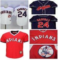 baseball ba - Hommes assemble rouge indiens a bas prix Throwback Baseball Jerseys accueil blanc bleu marine Manny Ramirez Jersey