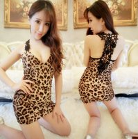 Wholesale women tempered halter dress leopard lace mini skirt low cut sexy lingerie pub ktv night gown