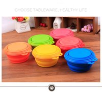Wholesale 300pcs Pet bowls Products silicone Bowl pet folding portable dog bowls for food the dog drinking water bowl