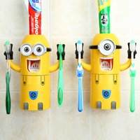 Wholesale Minions Toothbrush Holders Automatic Toothpaste Squeezer Dispenser Couple Toothbrush Cup Holder Family Bathroom Sets Suit