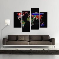 Cheap 4 Picture Combination Oil Painting on Canvas Wall Art Flag in World map Its Country's Outline The Picture For Home Decoration