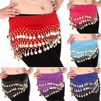 bellydance coins - New Women Belly Dance Costume Dancing Rows Hip Skirt Scarf Wrap Belt Hipscarf with Coins Bellydance For Freeshipping
