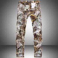 american sweatpants - Snakeskin printed jeans for men hip hop sweatpants joggers pants fashion design brand Skinny denim trousers casual man harem pants