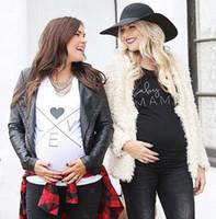 Wholesale Black MAMA and White Love brief Maternity Wear Gift Cute Fashion Maternity T Shirt S M L XL XL XL Six Size MOQ