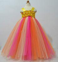 beautiful crochet flowers - Beautiful Girls Crochet Flowers Tutu Dresses Kids Handmade Tulle Dresses Party Tutus with Headband Children Wedding Dresses Free Ship