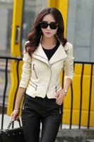 Wholesale leather jacket women slim short design motorcycle leather jackets spring autumn young girl jackets and coats