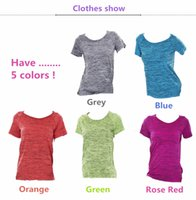 Wholesale Hot sale summer thin colorful female sports short sleeve wicking T shirt hyun color segment dyed loose jogging suits yoga clothes breathable