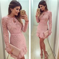 Wholesale HOT Hot summer new European and American big yards Slim lace long sleeved waist dress three color options