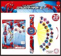 Wholesale Spiderman Projector watch D cartoon Projection Watches children gifts Christmas gifts for children Fashion child Watches Designs Mix