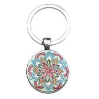 art main - Main Mandala Key Chain Keychains geometry glass art jewelry pendant Keychain keychain for New Women Christmas Gifts