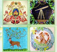 Wholesale 25x25cm pages Animal Kingdom Enchanted Forest Lost Ocean secret garden inky coloring book for kids adult gift Painting