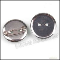 Wholesale 300pcs Fashion Iron Round Pin Back Brooch Findings Rhodium Plated For Jewelry Making x23x7mm