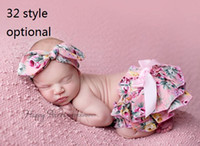 Wholesale 15 off Newborn Baby Ruffle PP Shorts Pants headband Baby cotton Panties bowknot Bloomers Skirt Briefs Diaper Cover Dress style sets