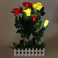 Оптовая Водонепроницаемый IP55 солнечной энергии 3 розы светодиодные украшения сада Двор Lawn Вид лампы красный / желтый / белый / розовый