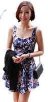 Wholesale 8830Walkeasy Lady sleeveless dress about knee miniSquare Neck blue black colors S M L XL Piece Flora Printed Dresses