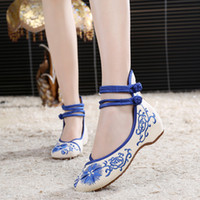 beef blue - New Product National Wind Women Shoes Increased within Embroidery Sunflower Old Beijing Cloth shoes Bottom beef tendon Single shoes US4