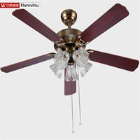 Wholesale High quality Bronze color wood iron chinese Bronze color modern quiet ceiling fans with E27 lights cm shipping without lamps