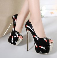 beige peep toe pumps - 16cm Sexy printed lipstick peep toe super high heels platform shoes women size to