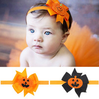 baby girl pumpkin - Baby Hair Accessories Infant Halloween Party Pumpkin Bow Flower for Headbands Girls Ribbon Boutique Bow Hairbands Childrens Elastic Headwear