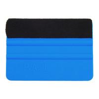 Wholesale Squeegee Car Film Tool Vinyl Blue Plastic Scraper Squeegee With Soft Felt Edge Window Glass Decal Applicator