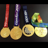 Wholesale Olympic medals Athens Beijing London Sochi Rio gold silver bronze medal badge sport with ribbon