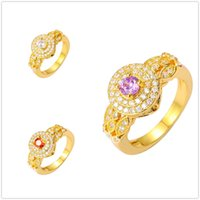 Wholesale 24K Gold Plated Rings Luxury Engagement Square Bague Simulated Diamond AAA CZ Jewelry Party For Women Christmas Gift Hot Sales Free Shippi