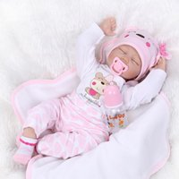 Wholesale 55cm quot Acrylic soft Silicone Simulation LIFE LIKE cloth body Reborn Baby Doll Girl NPK6903
