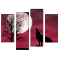 Four-picture Combination animal background pictures - 4 Pieces a Wolf In A Dark Night With Moon Red Background Print Canvas Picture Animal For Home Modern Decor With Wooden Framed