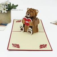 bear birthday card - Delicate manual d card Creative cartoon teddy bear birthday greeting card holiday gift CARDS
