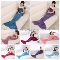 Wholesale Fedex DHL Free cm Children Kids Mermaid Tail Blanket Sleeping Bags Handmade Crocheted Blankets Air Condition Sofa Blankets Z416