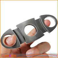Wholesale New Arrival HOT Silver Stainless Steel Pocket Cigar Cutter Knife Double Blades Scissors Shears