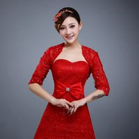 Wholesale 2016 Red Bridal Bolero Applique with Beads Charming Wedding Accessories Bridal Wraps Half Sleeve Free Size S