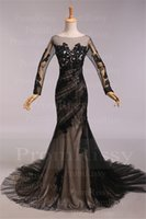 Wholesale Sexy Cheap Sweep Train Sheer Boat Neck V Back Black Nude Lace Full Length Black Long Sleeve Mermaid Evening Gown Prom Dress PR5