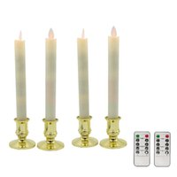 Wholesale 4pcs Moving Wick Electric Flameless LED Candlestick Long Taper Candle with Timer Dimmer RC for Christmas Wedding Decoration