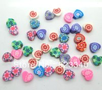 Wholesale 100Pcs Mixed Multicolor Flower Heart Flat Back Cabochon Polymer Clay Beads