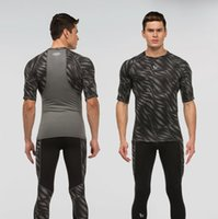 athletic t shirts - 2016 Athletic Slim Fit Pro Sport Men s short Sleeve T shirts Muscle Elasticity Running Biking Climbing gym Print short sleeves T shirt
