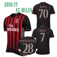ac t shirt - Benwon Soccer Jerseys Bacca Bertolacci Romagnoli Bonaventura AC MILAN Home Football t Shirts Menez Serie A Maillot Top Quality