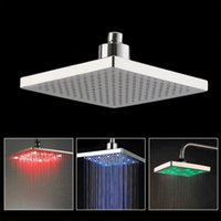 Wholesale Bathroom Square quot inch LED Color Changing Stainless Shower Head Sprinkler