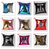 Wholesale Fedex DHL Free Sequins Pillow Cushion Cover Pillowslip Sofa Pillow Case Magic Swipe Pillow Cover Mermaid Pillow Covers cm B1004