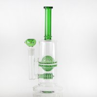 ball disc - 2016 New Arrival Two Function Glass Water Pipe With Green Fritted Glass Ball and Disc Percolator Oil Rig Glass Bong mm Joint