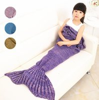 Wholesale 4 Colors Knitted Mermaid Tail Blanket Handmade Children Mermaid Blanket Throw Bed Wrap Super Soft Children Swaddle Sleeping Blanket