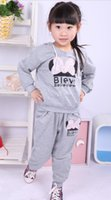baby girl casual wear - lowest price Hot sale New style girl sport wear children Clothing Set girls sport suit Fashion two piece Baby Garment Butterfly Sets set