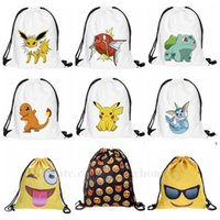 Wholesale Poke Emoji Drawstring Backpack Pocket Shopping Bag Fashion Monster Storage Bag Poke Pikachu Organizer Baggu Poke Ball Gifts Sack Bags B815