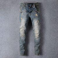 Wholesale 2016 Boyfriend Skinny Rockstar Biker Jeans Fashion Destroyed Scratched Denim Directly From Factory