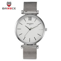 alloy mesh - Men Popular Watch Round Case Luxury Fashion Gold Silver Steel Mesh Belt BADACE Quartz Watch