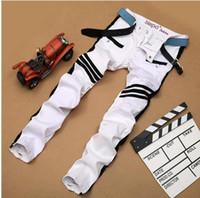 Precio de Los pantalones más el tamaño 24-2017 nueva manera de la caída blanco impreso jeans para hombres de alta calidad elásticas Vaqueros ajustados pantalones ocasionales de los hombres de la ropa vaquera para hombre Plus En general NXX138 Tamaño
