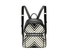 backpack materials - Girl s Geometric Pattern PU Leather Material Backpack School Bag Black and White Color Gun Metall Durable Quality