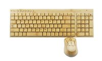 Wholesale New Creative Fashion Luxury Real Smoothly Bamboo Handmade Enviromental Healthy Wireless Multimedia Keyboard Mouse Combos with retail package