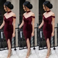 arabic necklaces - 2016 Burgundy Off Shoulder Cocktail Dresses Sexy Side Split Necklace Tea Length Prom Dress Cheap Fast Shipping Arabic Women Gown